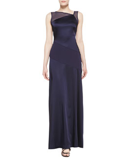 Halston Heritage Sleeveless Asymmetric Neckline Gown, Midnight Blue