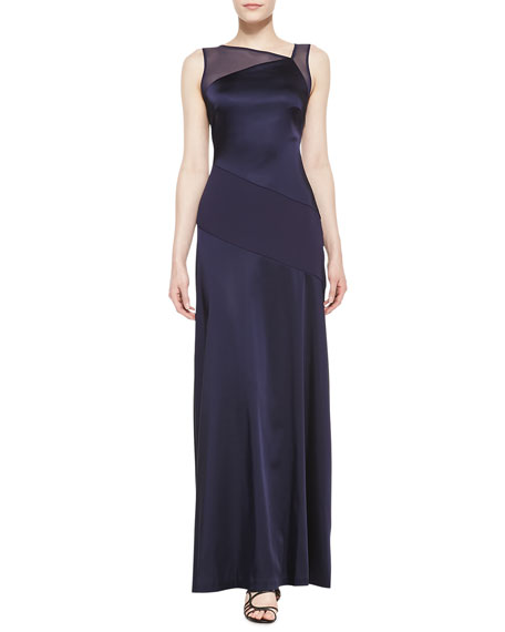 Sleeveless Asymmetric Neckline Gown, Midnight Blue
