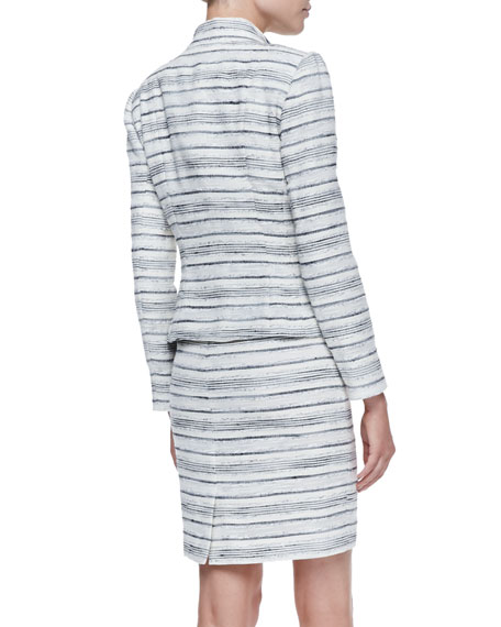 Horizontal-Striped Dress with Matching Two-Button Jacket