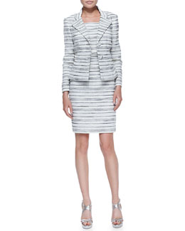 Kay Unger New York Horizontal-Striped Dress with Matching Two-Button Jacket