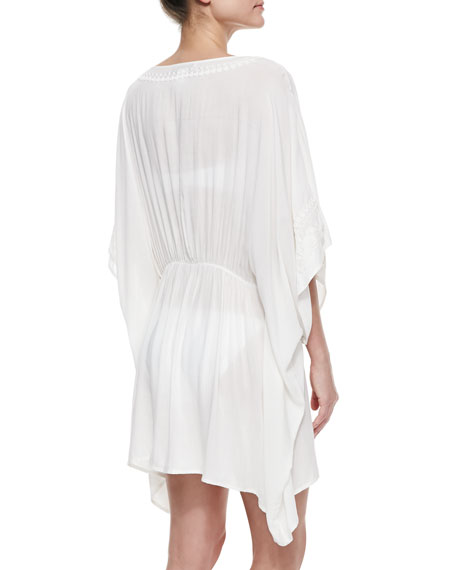 Deja-Blue Embroidered Caftan Coverup, White
