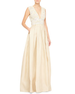 Naeem Khan Sleeveless Embellished-Bodice Gown, White/Nude