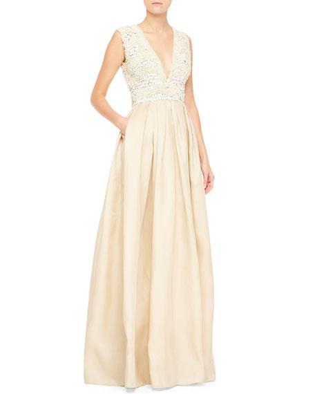 Sleeveless Embellished-Bodice Gown, White/Nude