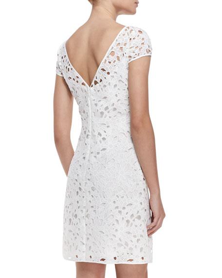 Cap-Sleeve Overlay Lace Dress, Optic White
