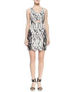 Ali Ro Sleeveless Marble-Print Cutout-Center Dress, Optic White/Black