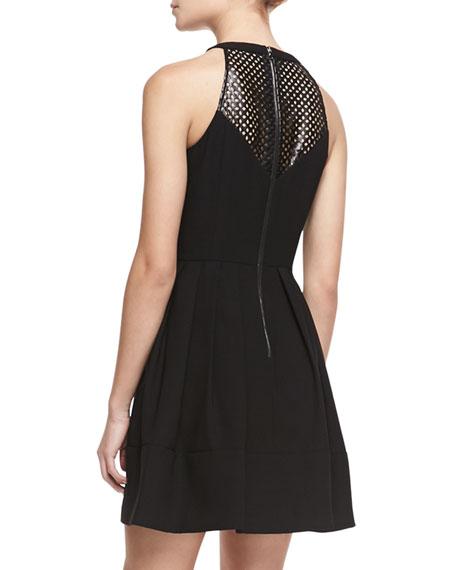 Laser-Cutout Halter Dress