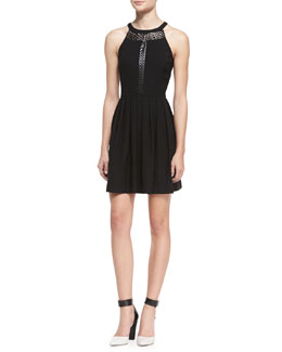 Ali Ro Laser-Cutout Halter Dress