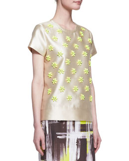 kate spade new york short-sleeve beaded front blouse