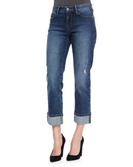 NYDJ Bobbie Boyfriend Rolled-Cuff Jeans, Petite