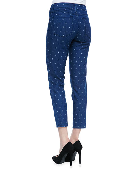 Clarissa Fitted Anchor-Print Ankle Jeans