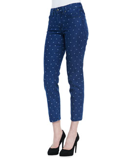 NYDJ Clarissa Fitted Anchor-Print Ankle Jeans
