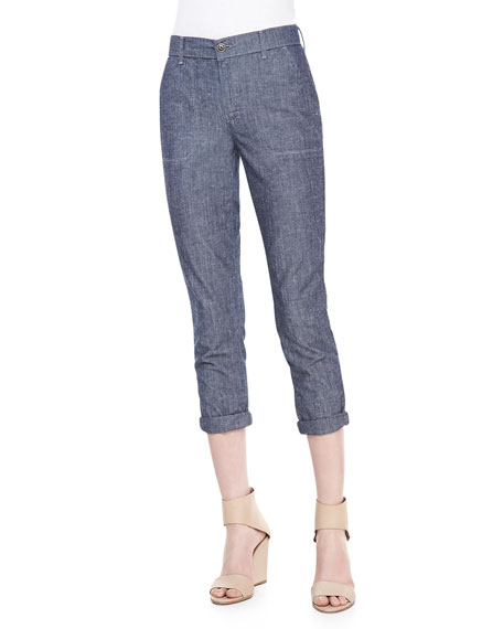 Cropped Slim Chambray Trousers