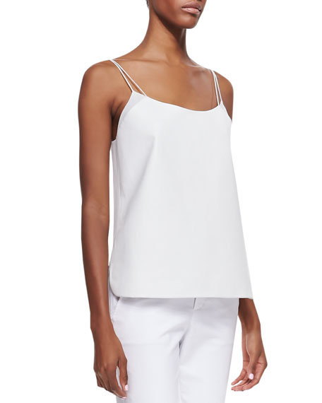 Lambskin Leather Camisole, White