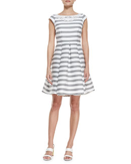 kate spade new york mariella striped beaded-neck dress, fresh white/casino gray