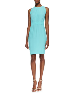 kate spade new york carlie sleeveless loosely gathered-waist dress, giverny blue