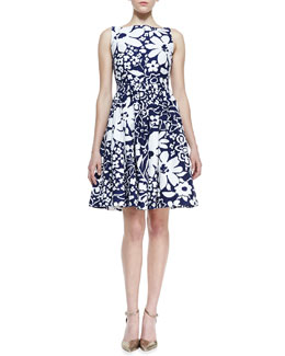 kate spade new york tanner sleeveless floral-print bow-back dress, french navy/white