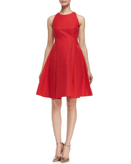 kate spade new york angelika sleeveless fit-and-flare dress, lacquer red