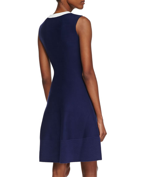 delilah sleeveless beaded-neck dress, navy/white