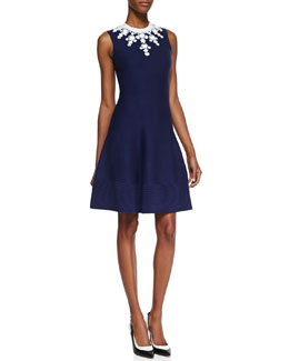 kate spade new york delilah sleeveless beaded-neck dress, navy/white