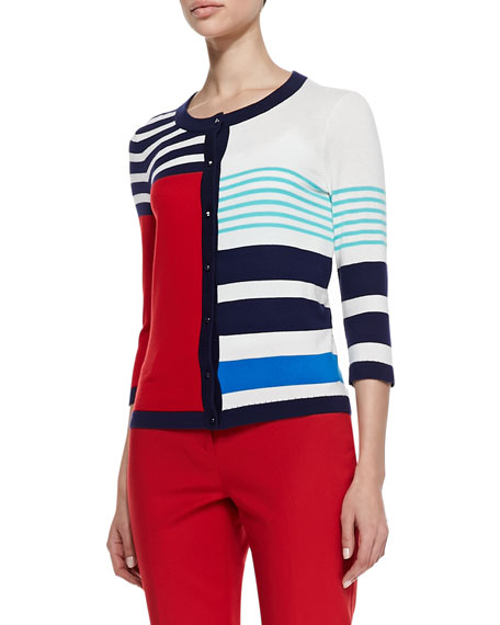 ollie colorblock cardigan, multicolor monaco