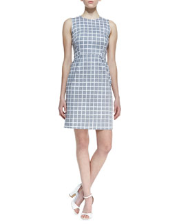 kate spade new york abbey sleeveless tile-print dress, gray/white