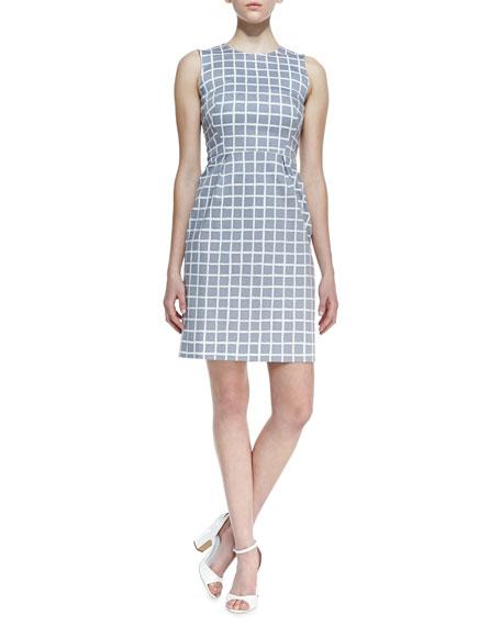 abbey sleeveless tile-print dress, gray/white
