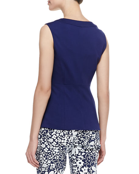 luma sleeveless top with bow, french navy