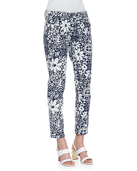 broome street floral capri pants, white/french navy