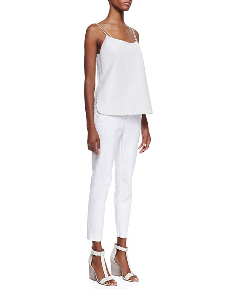 Slim Cropped Zipper-Cuff Pants, White