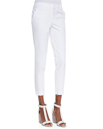 Slim Cropped Zipper-Cuff Pants, White