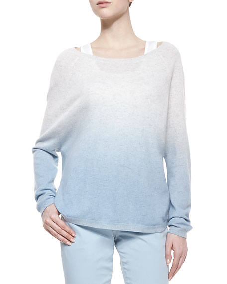 Ombre Long-Sleeve Knit Sweater, Caribbean Combo