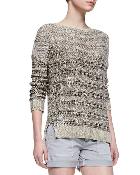 Drop-Shoulder Boat-Neck Sweater