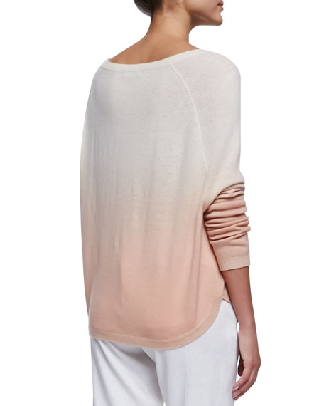 Ombre Long-Sleeve Knit Sweater, Rosetan