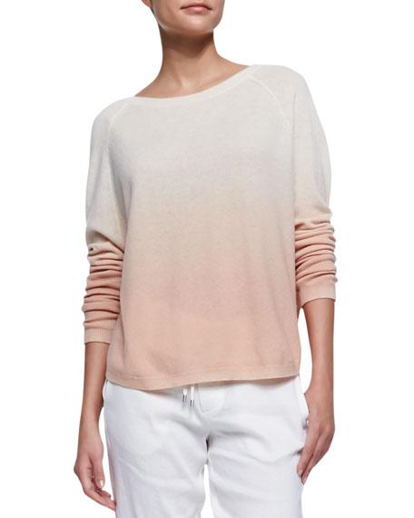 Ombre Long-Sleeve Knit Sweater, Rosetan