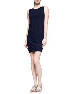 Vince Draped Sleeveless Jersey Dress