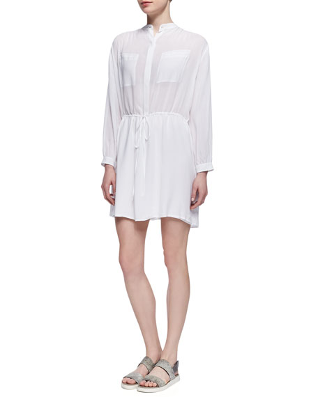 Drawstring-Waist Easy Shirtdress, White