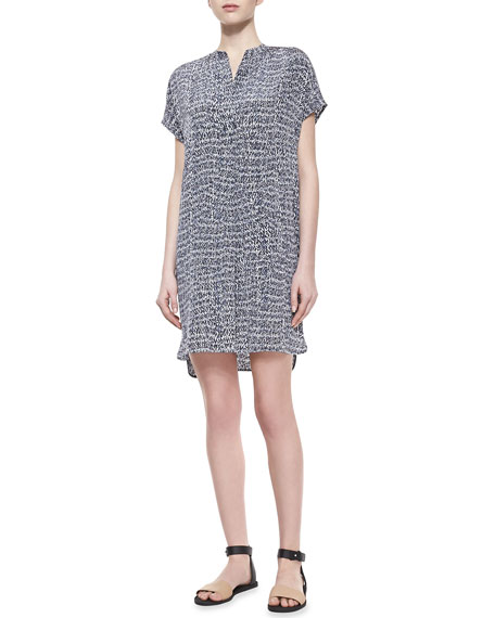 Static-Print Silk Short Dress, Gray