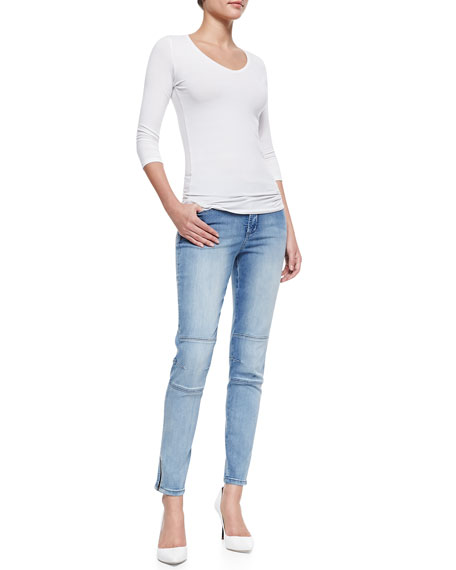 Kerry Super-Skinny Zip-Cuff Denim Jeans, Palos Verdes
