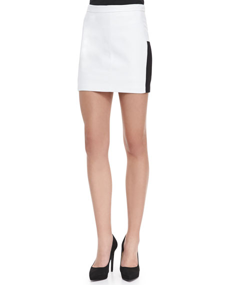 Juliette Leather Panel Miniskirt, White/Black