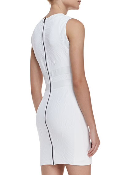 """Megan"" Blister Textured Leather-Accent Dress, White"