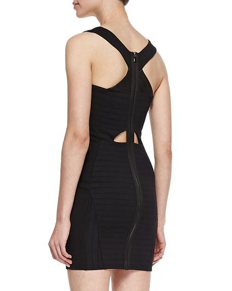 Martine Sleeveless Leather-Front Bandage Dress, Black