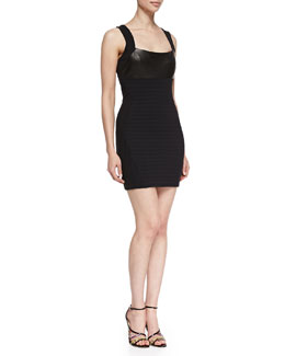 LaPina by David Helwani Martine Sleeveless Leather-Front Bandage Dress, Black