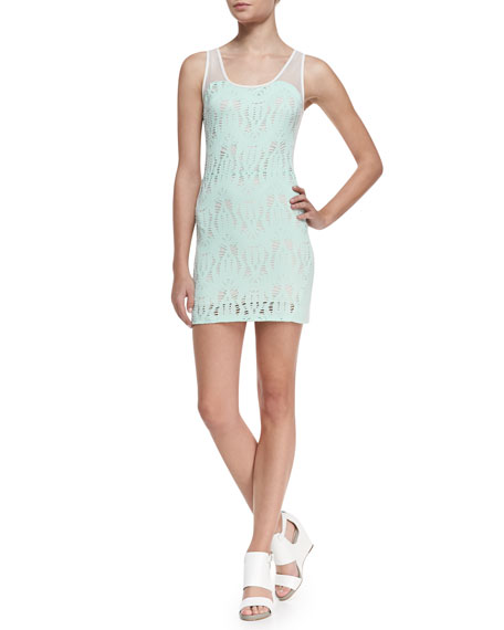 """Elyse"" Crochet Knit Dress, Mint"