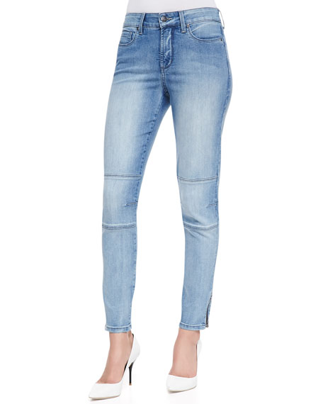 Kerry Super-Skinny Zip-Cuff Denim Jeans, Petite
