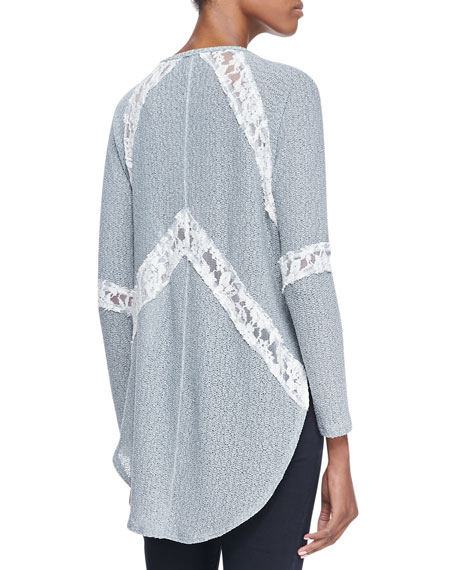 We The Free Flying V Hacci Top, Light Gray