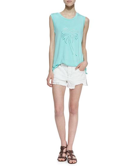 Sharkbite Denim Shorts, White