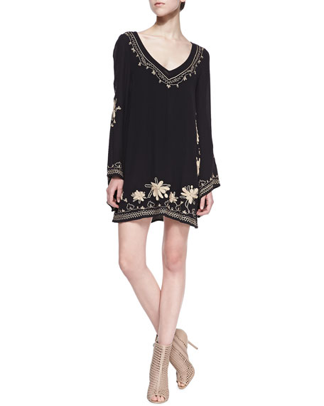 Skyfall Embroidered V-Neck Dress, Black