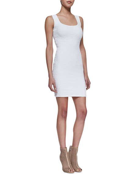 Sleeveless Fitted Jacquard Dress, White