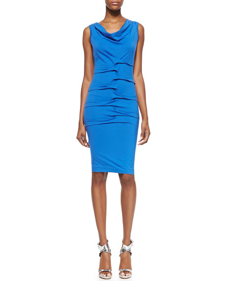 Sleeveless Cowl-Neck Interlocking Sheath Dress, Classic Blue