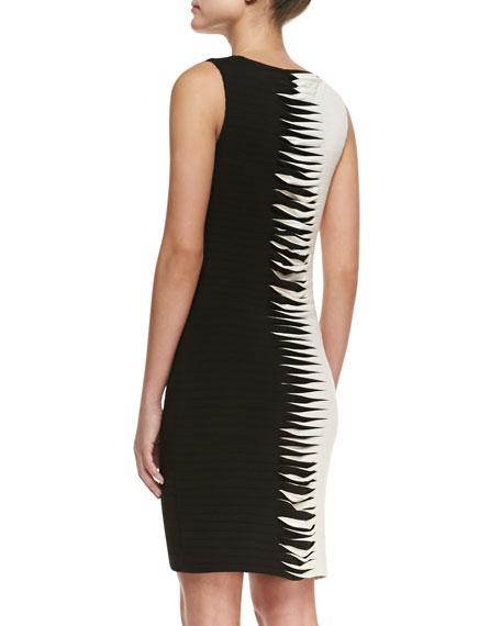 Sleeveless Contrast Cross-Stitch Sheath Dress, Black/White